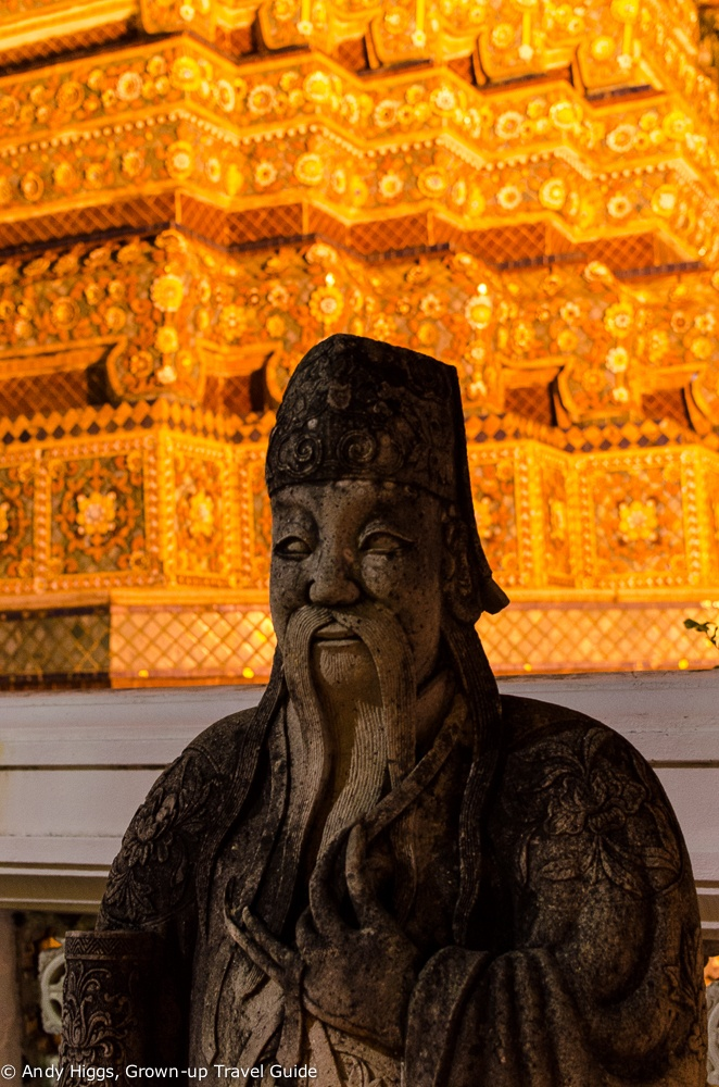 Wat Pho statue at night